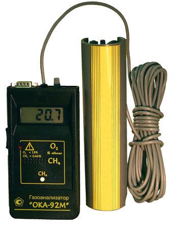 Переносной двухканальный газоанализатор кислорода и суммы горючих газов ОКА-92М с цифровой индикацией показаний